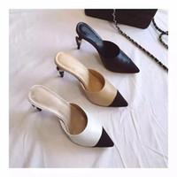achat en gros de talons 41-Chaussures de haute qualité 41 42 Design de marque de luxe CC cuir véritable beige serpent noir perle pointu mules chaussures talons pompes sandales mattes