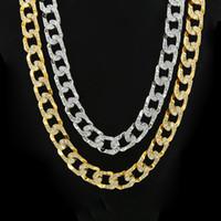 Miami Fashion Hip Hop Bijoux Collier Homme Or jaune Finition Cristal Iced Out Cuban Collier Collier Lien