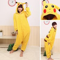 Wholesale 2017 Newly Pikachu Outfits Pajamas Cosplay Costumes Unisex Anime Onesie Pajamas Cosplay Pajamas Adults Rompers Fits Factory Sale MC0494