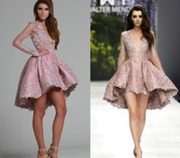 Cheap 2017 Sexy Cocktail Party Dresses Plunging Pink Lace Applique Long Sleeves A Line Winter Spring Hi-lo Short Homecoming Prom Dresses Custom