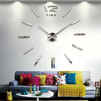 Wholesale new arrival d home decor quartz diy wall clock clocks horloge watch living room metal Acrylic mirror Decoration