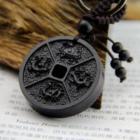 ancient chinese steel - Coin Shape With The Four Chinese Ancient Mythical Creatures Ebony Key Ring Women Key Finder Wood Carving Key Chain SPXM0051