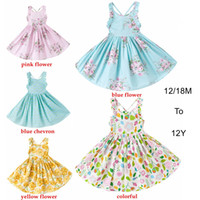 Wholesale Baby Girl Dress Summer Backless Beach Style Floral Print Party Dress for T Kids Girl Vintage Clothing