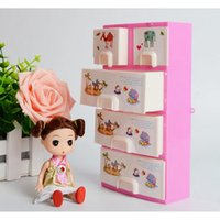 bedroom wardrobe storage - Pink Doll Furniture Closet Wardrobe Storage Cabinet Princess Bedroom Doll Accessories Dollhouse Bedroom Furniture For Girls
