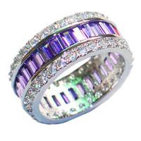 El cuadrado púrpura de la plata esterlina de lujo 925 pavimenta el ajuste CZ lleno Simulated la piedra preciosa del diamante suena la joyería de las vendas de la novia de la boda para las mujeres