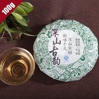 al por mayor er verde-5-10 Años 2008 ShenShanGuYun té chino Sheng Puer 100g, Yunnan Pu Er té verde comida, JiShun Puerh té de la torta de adelgazar beneficios
