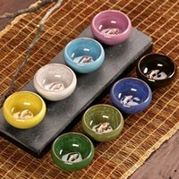 Wholesale YGS Y272 Colorful Ice Crackle Porcelain Colors Tea Cup With Fish Pattern Ceramic Ceramic Kung fu Tea Set