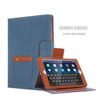 Wholesale For iPad air Leather Case New Fashion Denim Cowboy Leather Case Stand Cover With Card Holder Tpu Case Cover For iPad mini