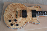 Wholesale Custom Shop Spalted Maple Top Natural Electric Guitar Gold Hardware EMG Pickups Gold Grover Tulip Tuners Ply Body Binding