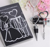 Wholesale Hot Heart Shape Couple bride and groom wine bottle opener and Stopper Sets Wedding Faovrs Gifts set