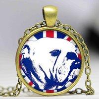 american bulldog white - English Bulldog Pendant Steampunk British flag Necklace Glass Dome Pendant Necklace