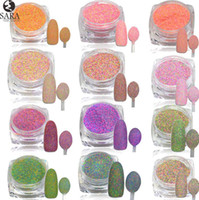 Wholesale g D Pigments Sequins Nail Sugar Glitter Dust Powder Polish Gel Girl Color Dazzling Nail DIY Pearl Tips Deco