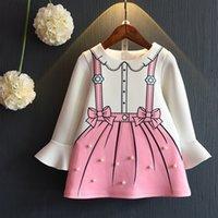 Nouvelle belle robe de Noël Costume Girl Robes de princesse automne longue manches pour les enfants Petite robe enfants Bow Print Avec Pearl 2101083