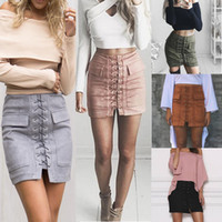 Wholesale Fashion Women Girls Lace Up Styles Faux Suede Leather Fur BodyCon Slim Mini Skirts Above Knee Dresses High Waist ED4028