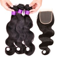 Wholesale Malaysian Peruvian Brazilian Virgin Hair Extensions Lace Closure With Bundles Natural Color Body Wave Buy Wefts Get Free Lace Closure in