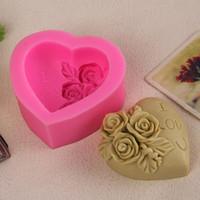 al por mayor se levantó molde de la galleta-Venta al por mayor- 3D Love Chocolate chocolate cupcake molde cookies haciendo moldes Rose flor silicona molde pastel decoración Sugarcraft