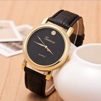 al por mayor redes empresariales-Red popularGeneva relojes venden como tortas calientes Moda cuero parejas mirar reloj de cuarzo British viento negocios puntero