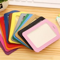 Wholesale 200pcs Bank Credit Card Holders women men PU Leather Neck Strap Card Bus ID holders candy colors Identity badge with lanyard