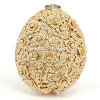 ab party bags - Sparkly Golden AB silver Crystal bag Egg shape Flower Diamond Luxury Evening Bag Women Wedding Party Purse Bling Handbags sc507