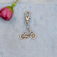 antique electric cars - New Vintage Silver Electric Bicycle Charm Rotation Lobster Button Keychain Gifts Fit DIY Key Chains For Women Men J662