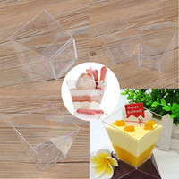Wholesale Mini Square Mousse Cake Dessert Cups Plastic Sample Drink Jelly Container Home Party Accessories