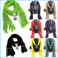 Wholesale Fashion pendant scarf Alloy Jewelry Scarf Necklace Polyester Scarves beach towel tassel shawl pashmina