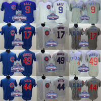 Wholesale 2016 World Series Champions Patch Chicago Cubs Baseball Jersey Javier Baez Kris Bryant Anthony Rizzo Jake Arrieta Flexbase sport shirt