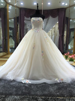 Wholesale 2016 new fashion floor length ivory tube top strapless sleevless appliqued beaded fit chiffon organza and lace wedding dress for the bride