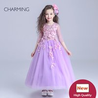 Embroidery ball gowns china - long dresses for girls purple flower girl dress bridal flower girl children s designers clothes high quality dress china online