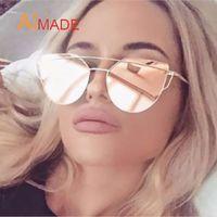 Golden beam lenses - 2016 New Cat Eye Sunglasses Women Brand Designer Fashion Twin Beams Rose Gold Mirror Cateye Sun Glasses For Female UV400