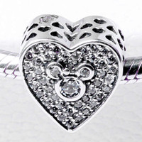 authentic crystals - Authentic Sterling Silver Bead Charm Openwork Love Heart With Crystal Mickey Beads Fit Women Pandora Bracelet Bangle DIY Jewelry HK3703