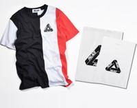 Nouveaux hommes européens et américains PALACE marée hommes et femmes à manches courtes en noir et blanc t-shirt en jersey sportif rond