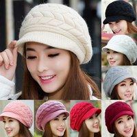 Stingy Brim Hat Yarn Dyed Casual Fashion Women Girls Winter Warmer Crochet Knitting Wool Hats Stingy Brim Caps Warm Peaked Beanies PX166 Free Shipping