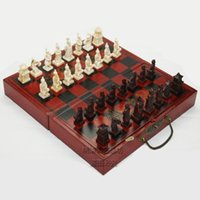 antique wooden game board - Professional International Chess Board Game Version Wooden Chess Set Standard Folding Educational Antique Terracotta Chess Pawn
