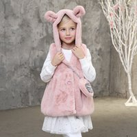 bag outerwear - Girls Plush Vest New Pattern Candydoll Kid Winter Outerwear Cartoon Rabbit Ears Hooded Cute Bag Warm Breathable Girl s Waistcoat