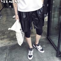 Vente en gros-2016 nouveaux hommes hip-hop shorts longueur genou deux couches noir spécial designer danse jazz vêtements hombre haute mode street wear