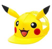 Stingy Brim Hat baseball cartoon characters - Pikachu Snapback Cartoon Caps Adult Baseball Cap Cool Boy Girl Hip hop Hats for Men Women