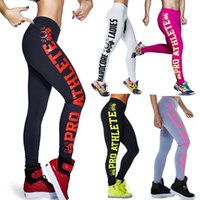 athlete workout - 2016 Womens Black Milk Sexy Leggings ATHLETE Letters Leggings Workout Pants Elastic Leggings Women Clothing Plus Size