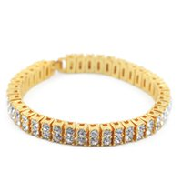 Wholesale Colorful Jewelry Gifts Bling Iced Out Row AAA RhineStone Bracelets Women Men Gold Plated Rhinestones Hip Hop Chains