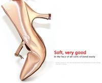 Wholesale Ballroom Latin Dance Shoes High Heel Sneakers Women Jazz Shoe Soft Sole Satin BD139 Customized Diamond Shoelace Factory Spring Hot