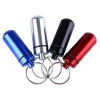 aids pills - Outdoor Aluminum Waterproof First Aid W Keychain Pill Bottle Box Hiking Camping
