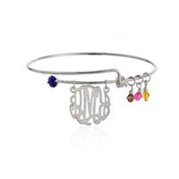Vente chaude Nouveau Monogramme Initial Mixed Style Bracelet Birthstone Charm Wiring Bracelets bracelets extensibles Livraison gratuite