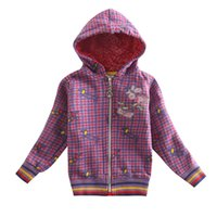 Wholesale fall and winter Girl s coat zipper Hooded leisure keep warm fashion Embroidery printing plaid Christmas coat