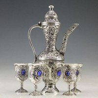 antique silver plated tea set - A Set china useable Old miao Silver Carved blue gems Flower Tea Pot Cups Plate