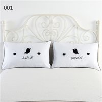 Wholesale Personality digital printing white couples pillowcase red lip Moustache crown love together Bed is tasted love spoon on pattern