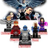 al por mayor magneto x men-5 Piezas / Set Marvel Super Heroes X-Men Minifiguras Apocalipsis Magneto Arcángel Psylocke Storm Building Block Set Modelos Juguetes