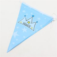 Wholesale Flag banner paper card blue crown prince party supplies kids boy birthday decorations hanging flags baby shower favors