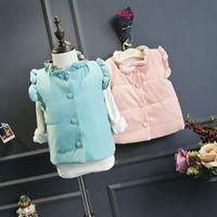 Wholesale New winter children clothing girls vest thick kids waistcoat floral print warm toddler vest girl costume