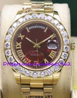 automatic wat - high quality luxury brand watches Red Dial Mens II k MM President Yellow Gold Bigger Diamond Ceramic Bezel Mechanical Men Wat