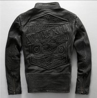 Wholesale new Harley style fashion Vintage cowskin genuine leather jacket stand collar slim fit skull pattern do the old motorcycle clothing jacket